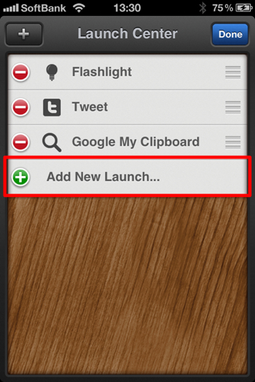 Iphone launch center shortcut 2