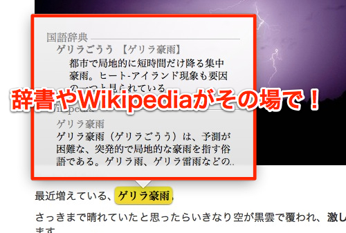 Safari cooperate with dictionary and wikipedia 2