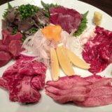 福岡・天神「博多かね萬」馬刺しなどの刺盛、もつ鍋が美味い。猪や鹿の肉も!