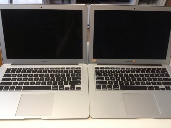 Comparison between new and old macbookair outside 8
