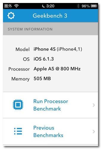 Iphone 5s 4s ipodtouch benchmark 1