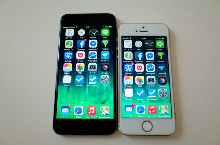 Comparison between iphone6 and 5s 1