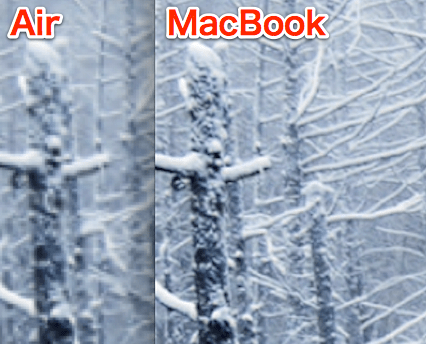 Comparison between new macbook and air 11