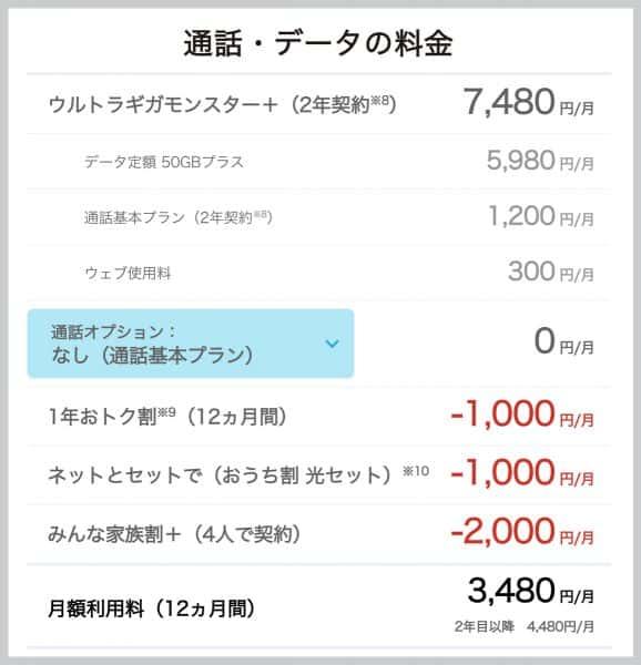 ウルトラギガモンスター+の料金
