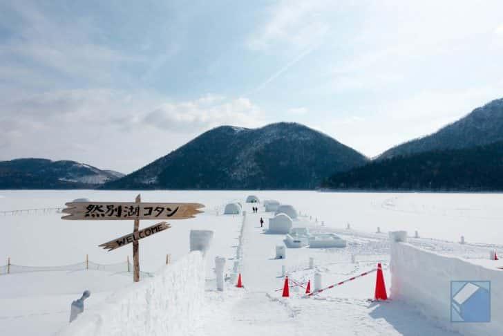 湖上に現れる氷の村、然別湖(しかりべつこ)コタン