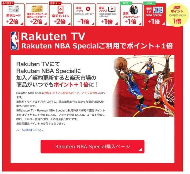 Rakuten TVにてRakuten NBA Specialに加入/契約更新で+1倍