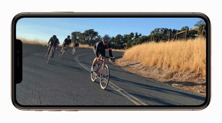 iPhone XS横持ち