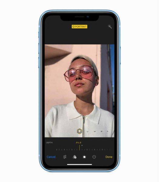 iPhone XS、XRとも、撮影後にf値を調整してボケ味を変更可