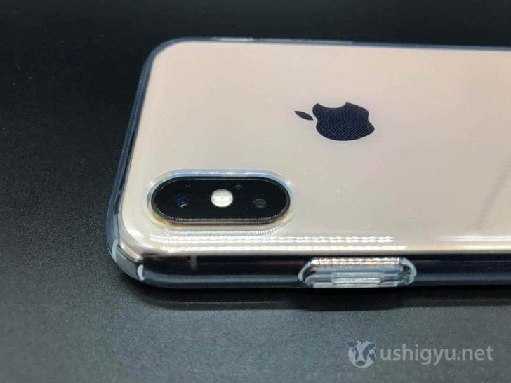 SpigenのiPhone XSケース デュアルカメラ部分
