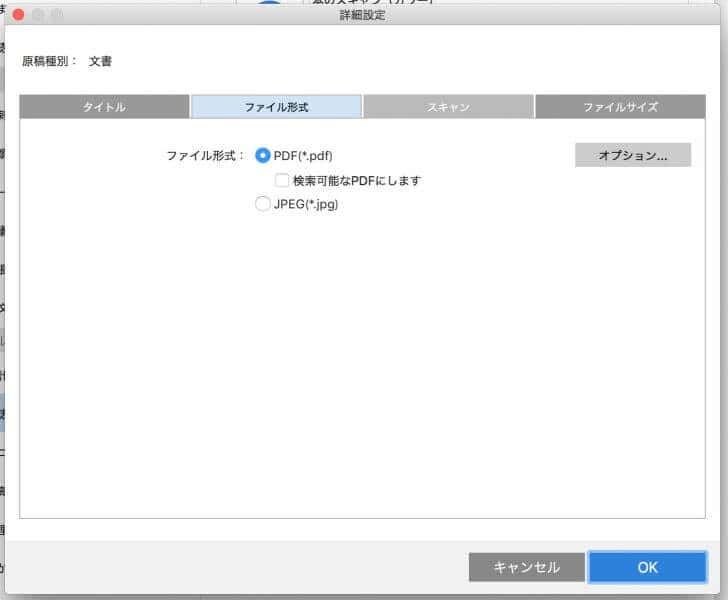 ファイル形式の設定