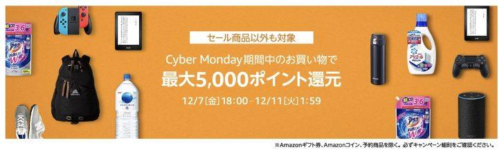 Cyber Monday期間中のお買い物で最大5,000ポイントプレゼント