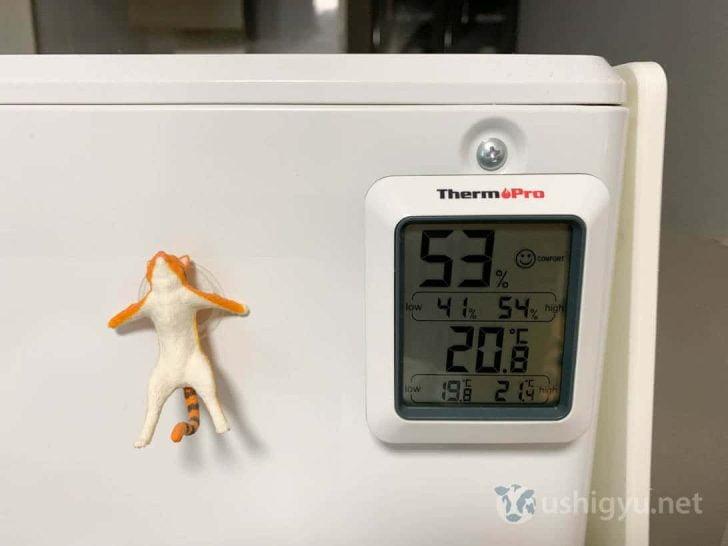 ThermoPro温湿度計を食洗機の裏に貼り付ける