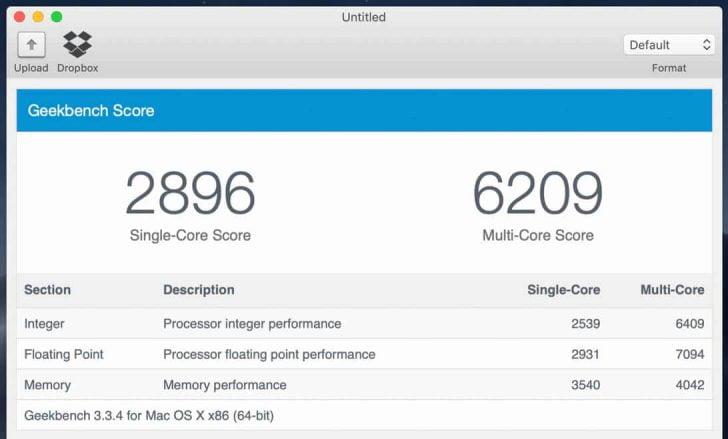 MacBook Airのベンチマークスコア