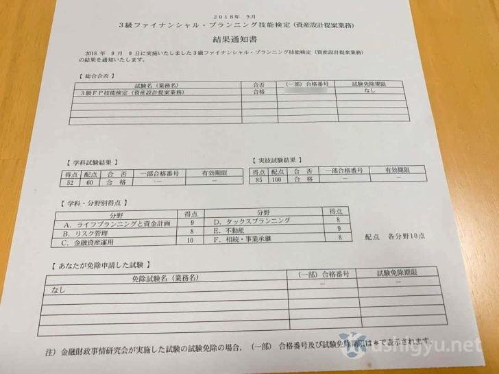 FP3級結果通知書