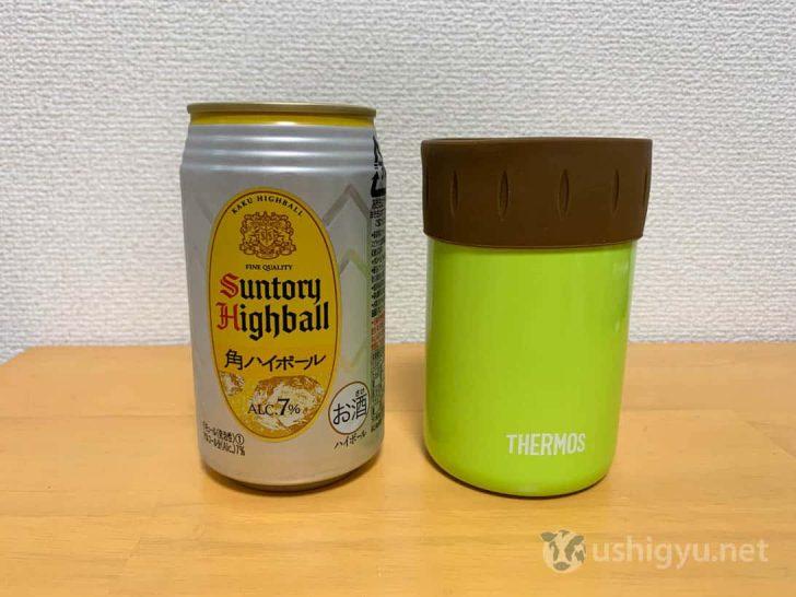 350ml缶をサーモス保冷缶ホルダーに入れてみる