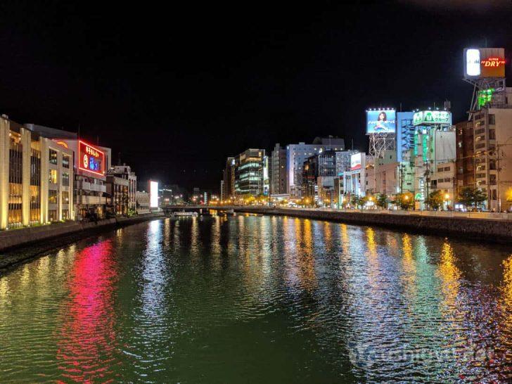 Pixel 3a夜景モードで撮った中洲リバービュー