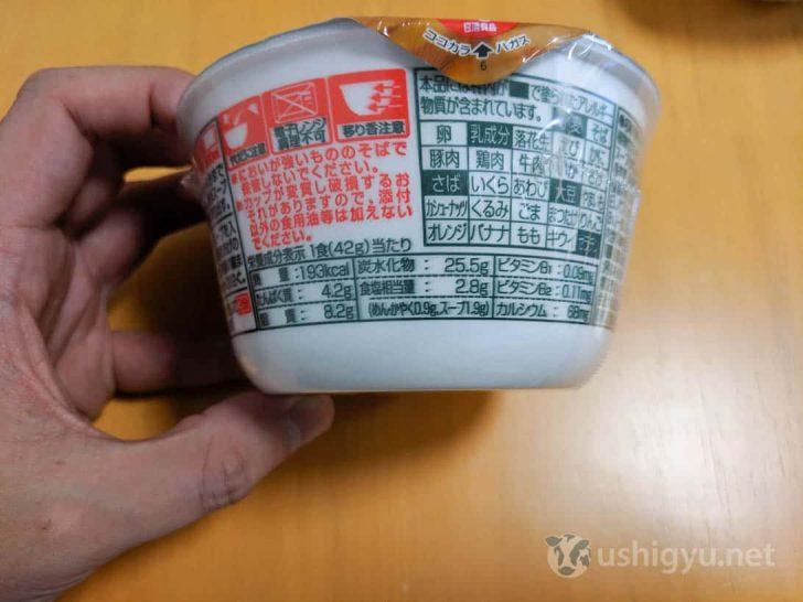 西日本版の栄養成分表示