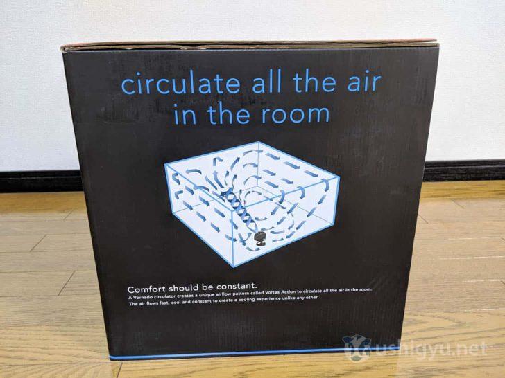 部屋のすべての空気を循環させるボルネードのサーキュレーター