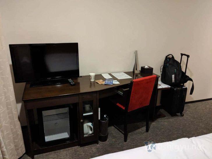 デスクにはテレビ、ミニ冷蔵庫、電気ポットやカップ、電気スタンドなど揃っている