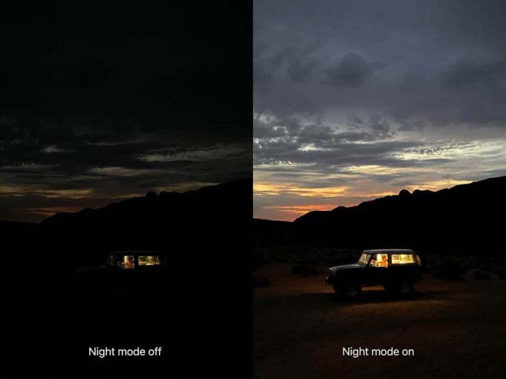 iPhone 11と11 Proの夜景モード