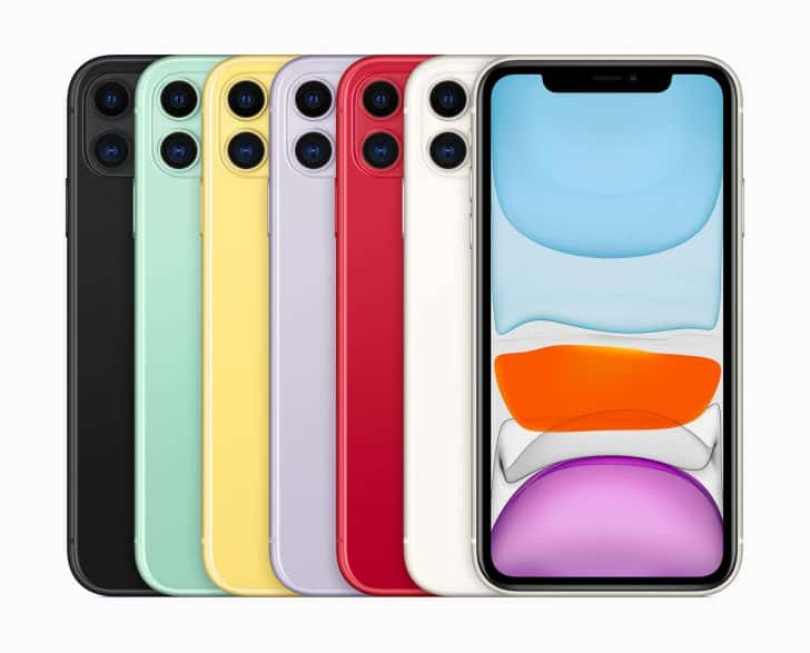 iPhone 11は6色展開