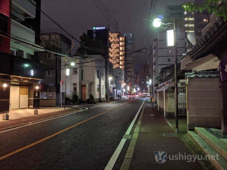 Pixel 3a通常撮影(夜の路上)