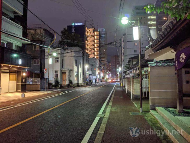 Pixel 3a夜景モード(夜の路上)