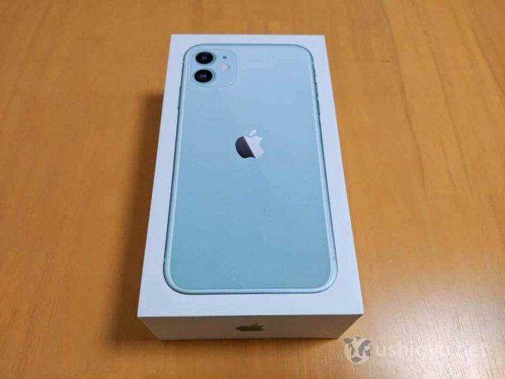 iPhone 11背面がプリントされた外箱