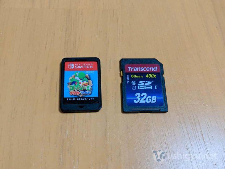 SDカードとSwitchカートリッジを並べてみた