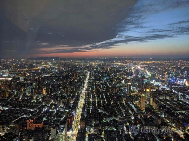 日も暮れてきて、台北の美しい夜景が姿を現してきた