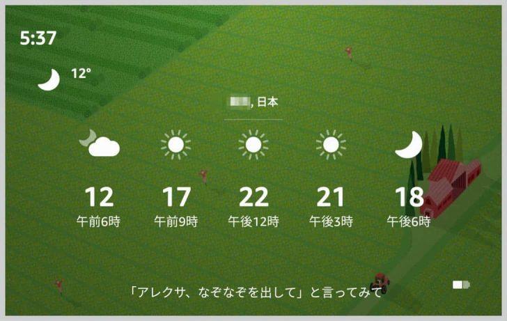 横にスワイプすると、1日の天気が表示