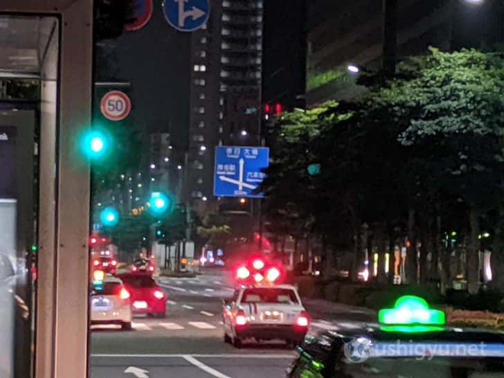 夜の市街地_Pixel 3a ズーム8倍