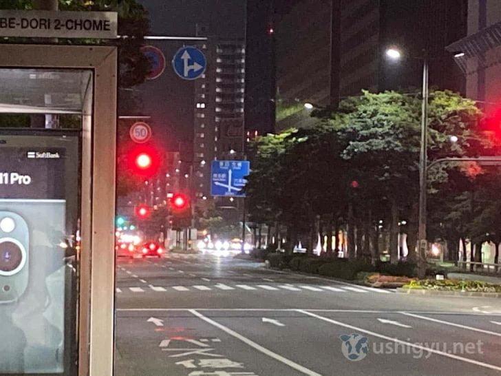夜の市街地_iPhone 11 ズーム