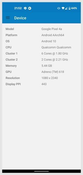 メモリの容量を確認してみると、Pixel 4aは5.44GB