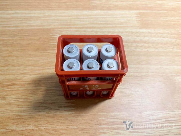 単3電池が6個、綺麗に入りました