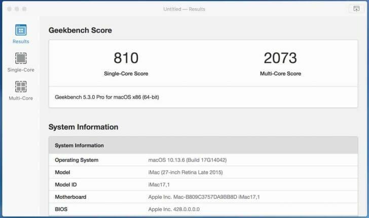 試しに自宅作業のメイン機であるiMac 4Kディスプレイモデル(Late 2015)で測定した結果はシングルコア810、マルチコア2073