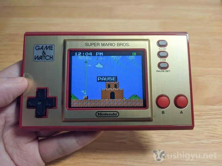 ゲーム途中に時間表示モードや他ゲームに切り替えると、自動的にPAUSE(ポーズ)がかかる