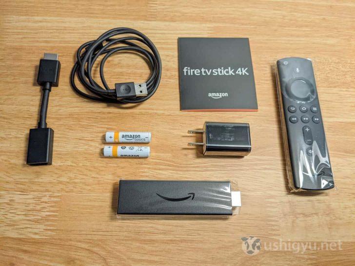 中身はFire TV Stick 4K本体とAlexa対応音声認識リモコン(第2世代)のほか、HDMI拡張ケーブル、microUSB電源ケーブル、電源アダプタ、リモコン用の単4電池2本、簡単な説明書