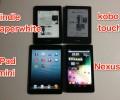 kindle paperwhiteとkobo touch,iPad mini,Nexus7を比較してみた!(外観、スペック、本の表示など)